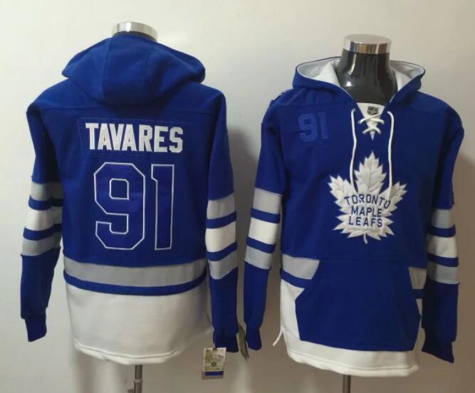 Men NHL Toronto Maple Leafs 91 Tavares blue Hoodie