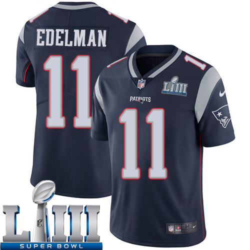 Men New England Patriots 11 Edelman Blue Nike Vapor Untouchable Limited 2019 Super Bowl LIII NFL Jerseys