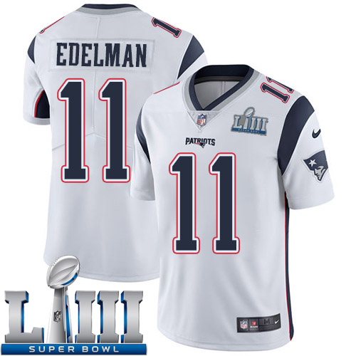 Men New England Patriots 11 Edelman white Nike Vapor Untouchable Limited 2019 Super Bowl LIII NFL Jerseys