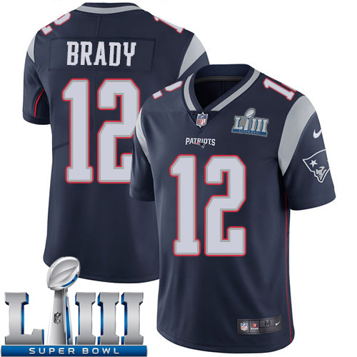 Men New England Patriots 12 Brady blue Nike Vapor Untouchable Limited 2019 Super Bowl LIII NFL Jerseys