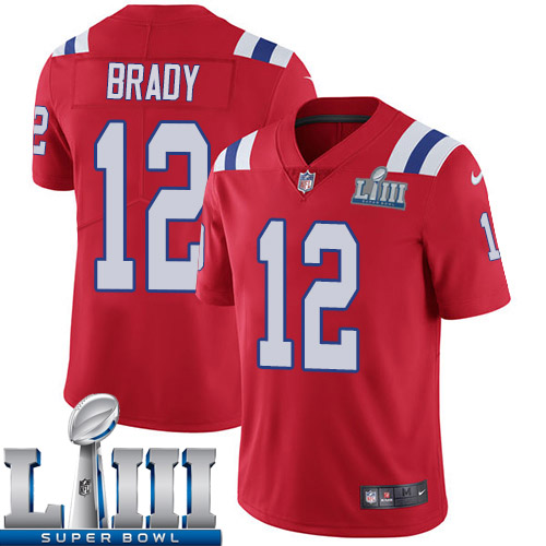 Men New England Patriots 12 Brady red Nike Vapor Untouchable Limited 2019 Super Bowl LIII NFL Jerseys