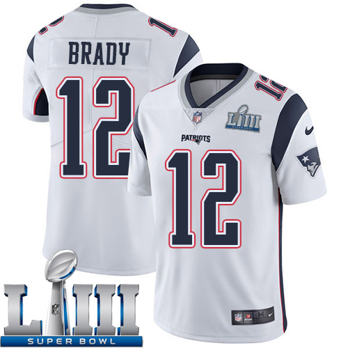 Men New England Patriots 12 Brady white Nike Vapor Untouchable Limited 2019 Super Bowl LIII NFL Jerseys