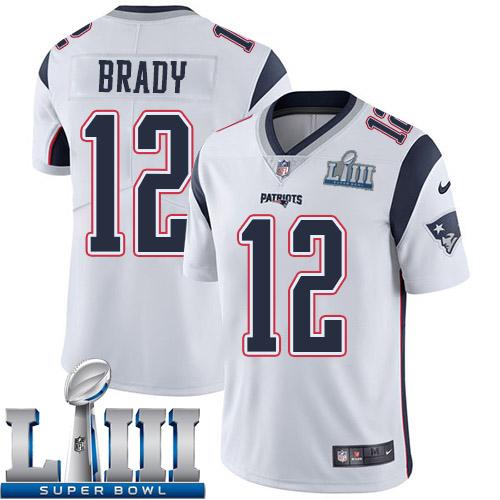 128c8250485 Men New England Patriots 12 Brady white Nike Vapor Untouchable Limited 2019  Super Bowl LIII NFL
