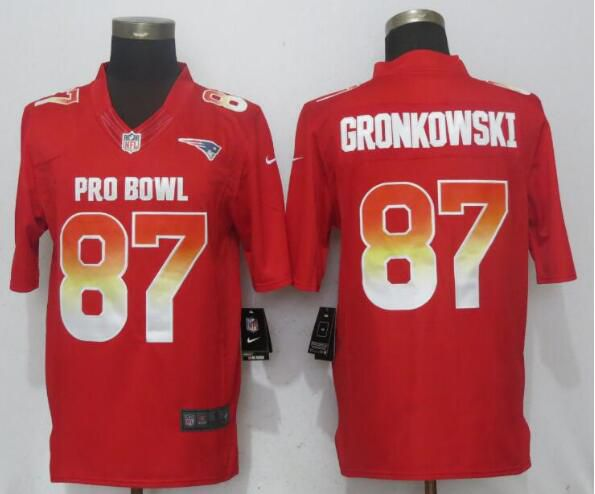 Men New England Patriots 87 Gronkowski Red Nike Royal 2019 Pro Bowl New Nike Limited NFL Jersey