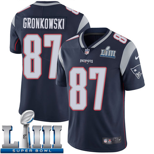 Men New England Patriots 87 Gronkowski blue Nike Vapor Untouchable Limited 2019 Super Bowl LIII NFL Jerseys