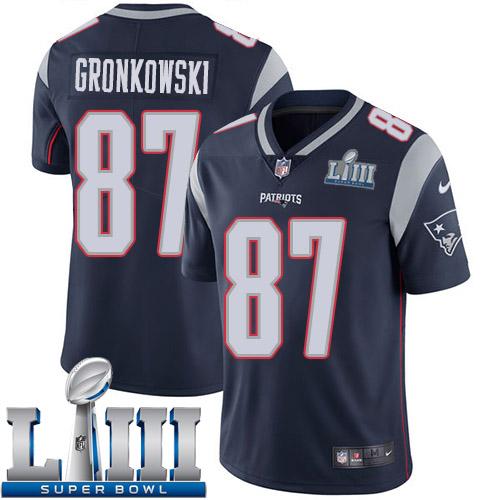 d7c9173e07e Men New England Patriots 87 Gronkowski blue Nike Vapor Untouchable Limited  2019 Super Bowl LIII NFL