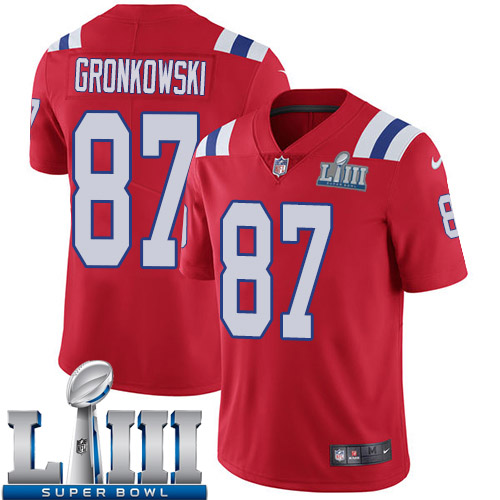 Men New England Patriots 87 Gronkowski red Nike Vapor Untouchable Limited 2019 Super Bowl LIII NFL Jerseys
