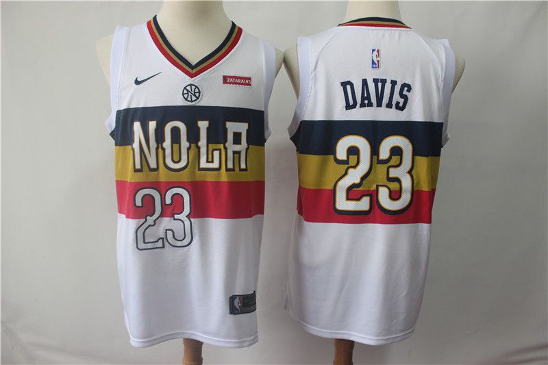 Men New Orleans Pelicans 23 Davis White City Edition Game Nike NBA Jerseys