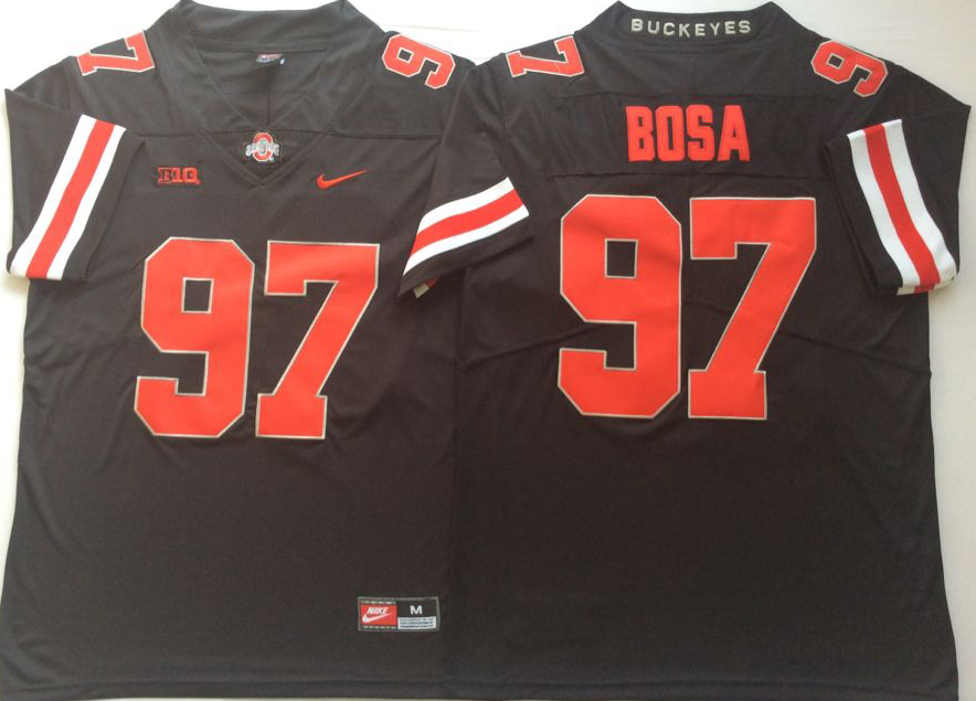 Men Ohio State Buckeyes 97 Bosa Black Nike NCAA Jerseys