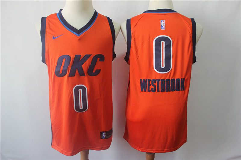 Men Oklahoma City Thunder 0 Westbrook Orange City Edition Game Nike NBA Jerseys