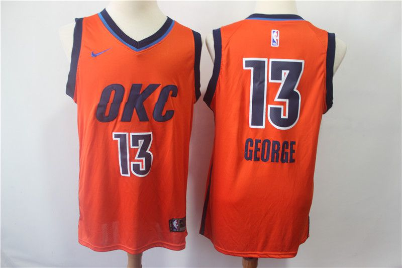 Men Oklahoma City Thunder 13 George Orange City Edition Game Nike NBA Jerseys