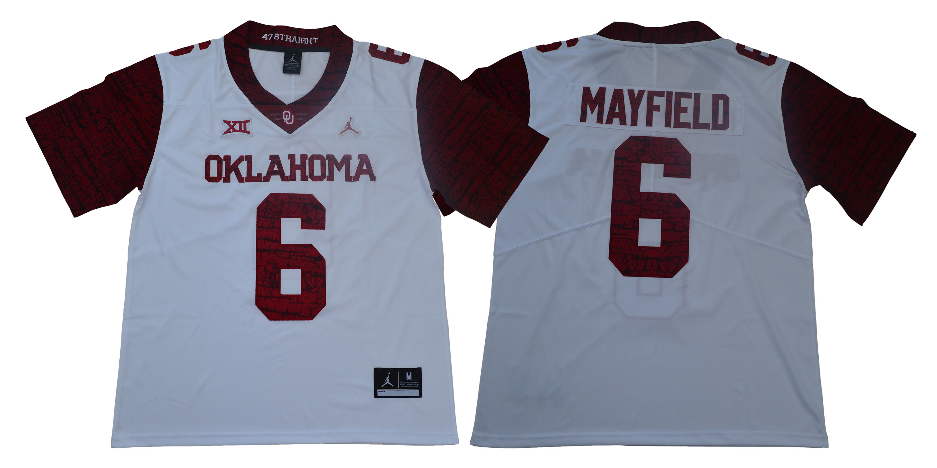 Men Oklahoma Sooners 6 Mayfield White Limited Stitched NCAA Jersey