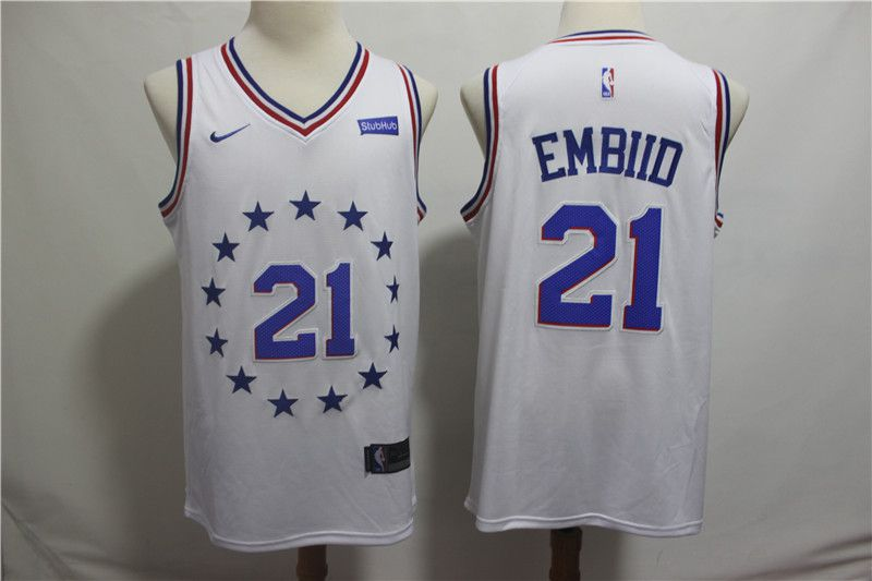 Men Philadelphia 76ers 21 Embiid White City Edition Game Nike NBA Jerseys