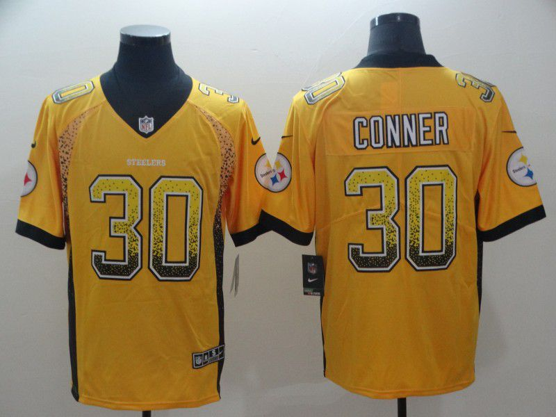 Men Pittsburgh Steelers 30 Conner Yellow Nike Drift Fashion Color Rush Limited NFL Jerseys