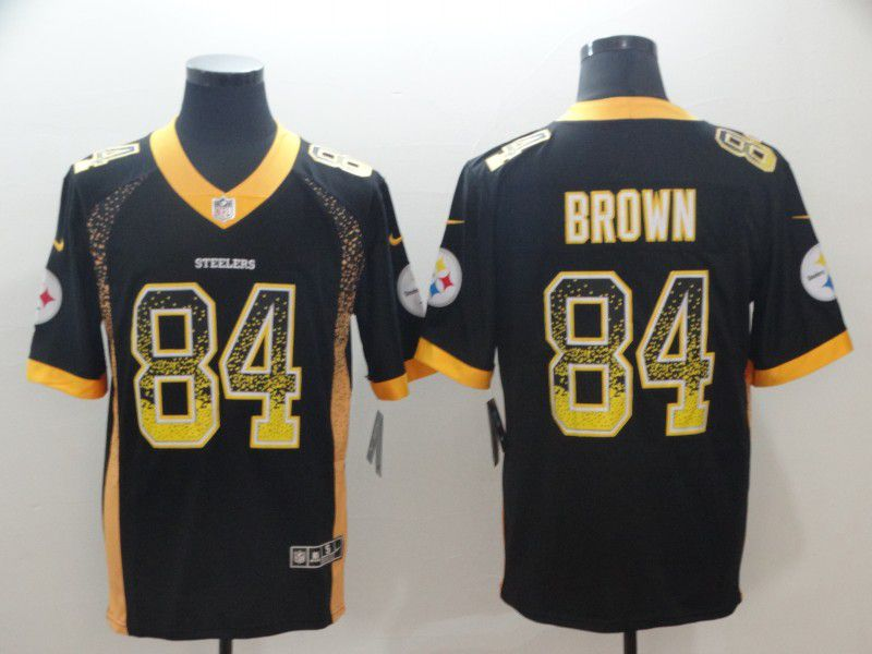 Men Pittsburgh Steelers 84 Brown Black Nike Drift Fashion Color Rush Limited NFL Jerseys