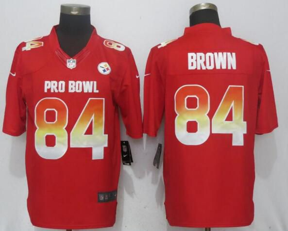 Men Pittsburgh Steelers 84 Brown Red Nike Royal 2019 Pro Bowl New Nike Limited NFL Jersey