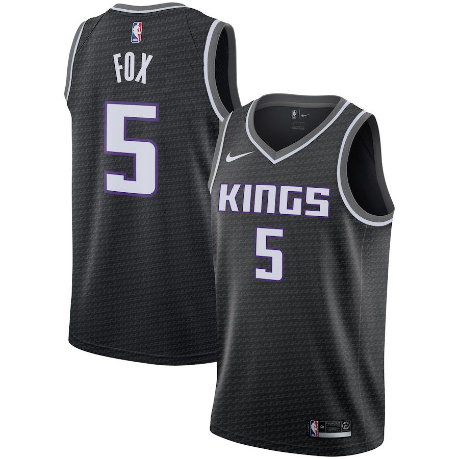 Men Sacramento Kings 5 Fox Black City Edition Game Nike NBA Jerseys