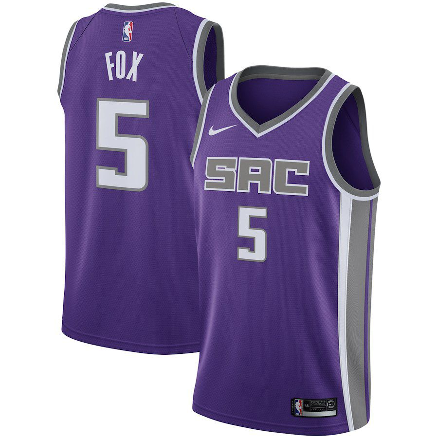 Men Sacramento Kings 5 Fox Purple City Edition Game Nike NBA Jerseys