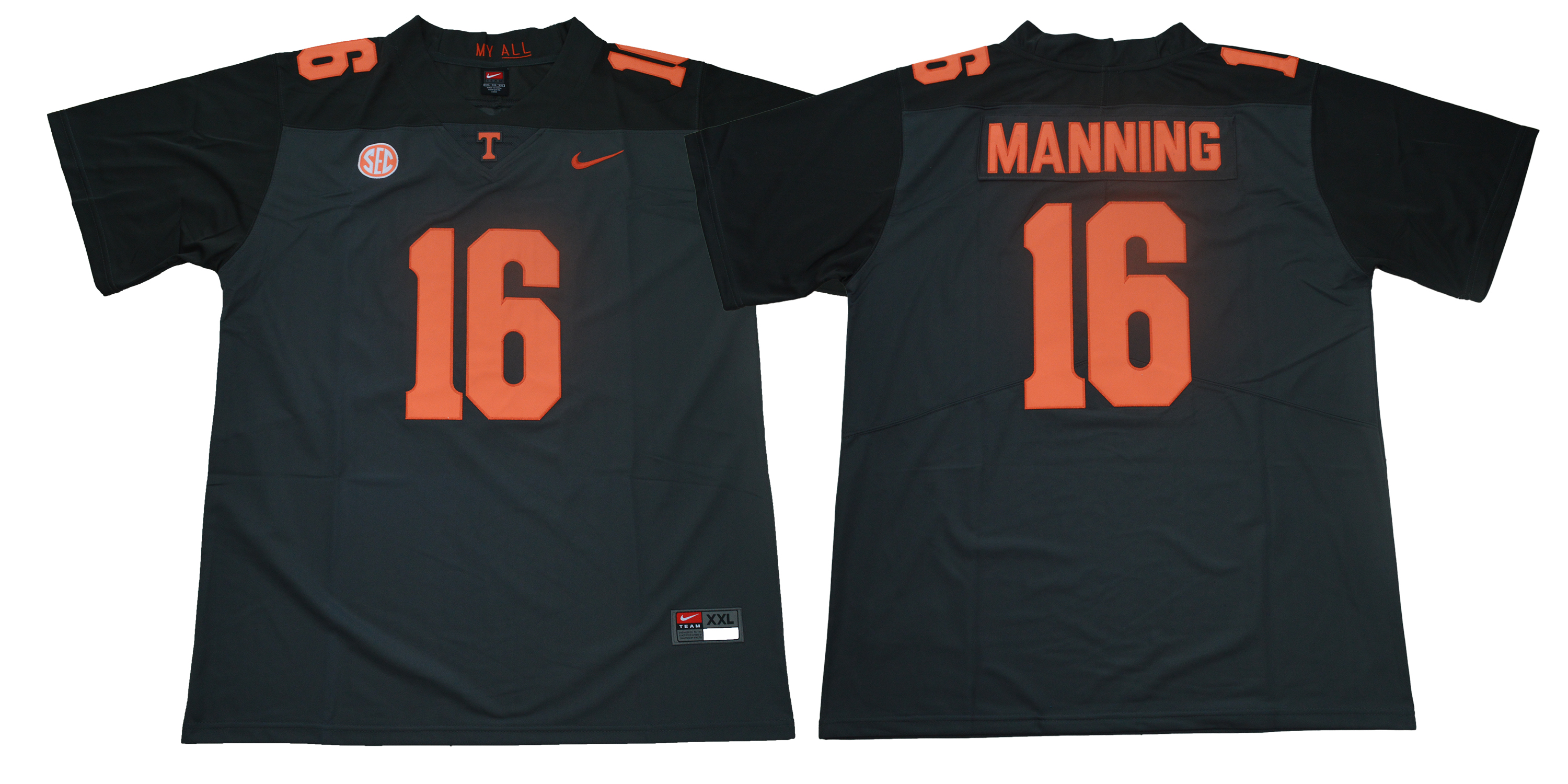 Men Tennessee Volunteers 16 Manning Black Nike Limited Stitched NCAA Jersey
