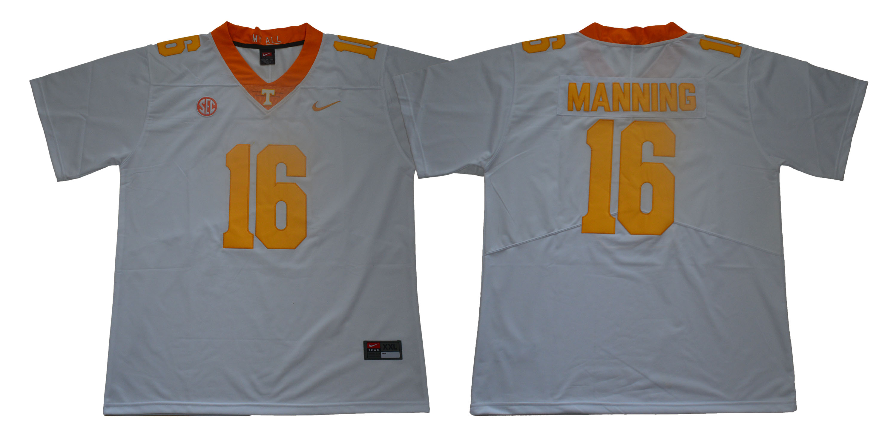 Men Tennessee Volunteers 16 Manning White Nike Limited Stitched NCAA Jersey