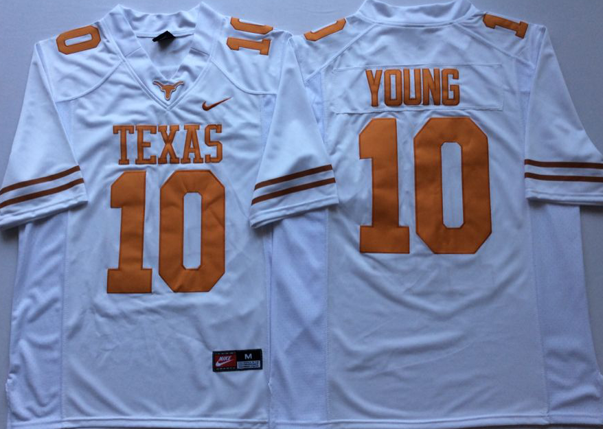 Men Texas Longhorns 10 Young White Nike NCAA Jerseys