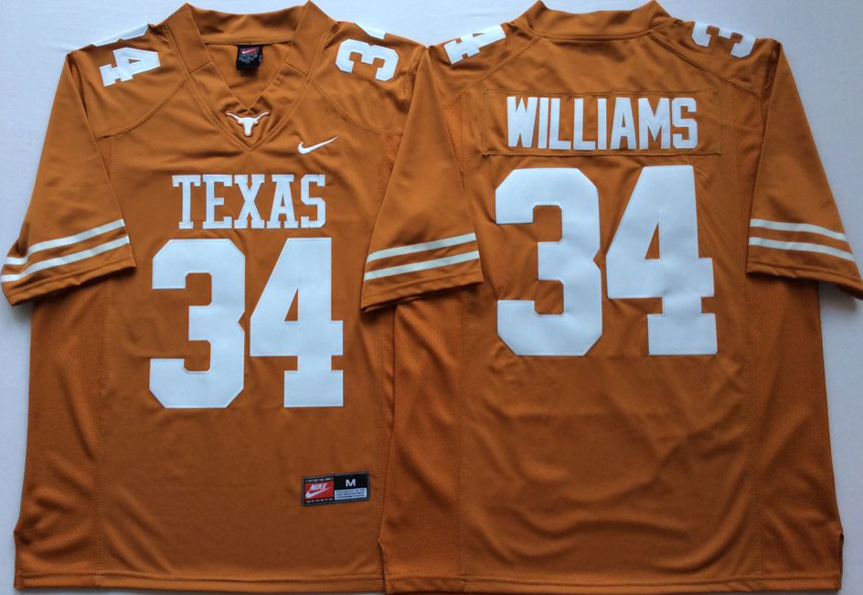 Men Texas Longhorns 34 Williams Yellow Nike NCAA Jerseys