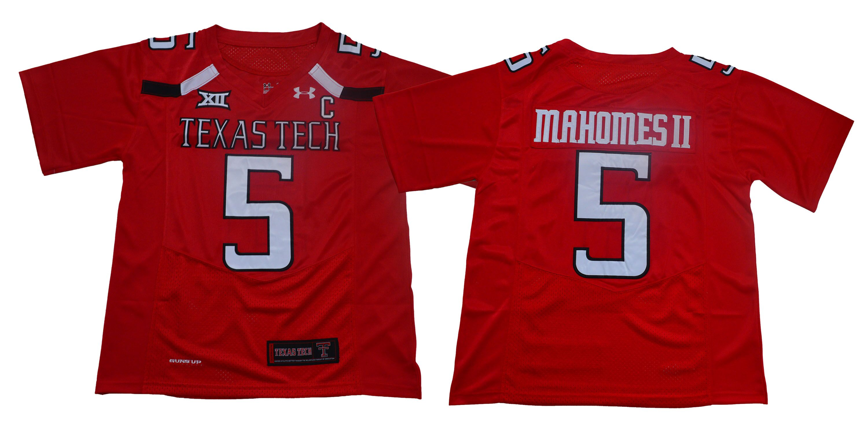 Men Texas Tech Red Raiders 5 Mahomes ii Red Limited Stitched NCAA Jersey