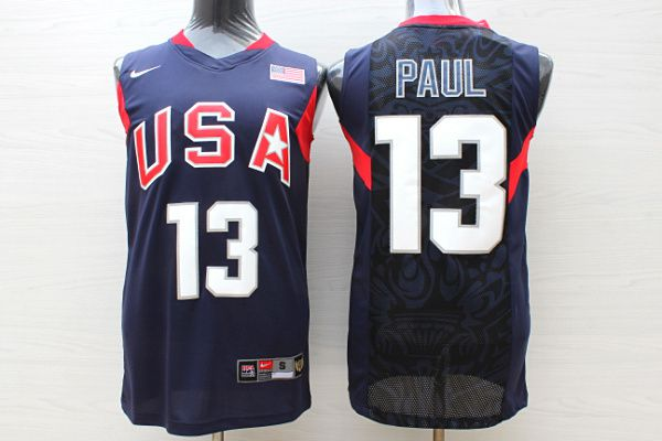 Men USA 13 Paul Dark Blue Stitched Nike NBA Jersey