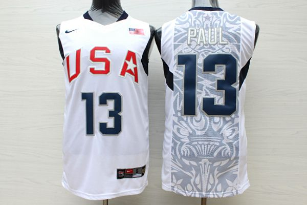 Men USA 13 Paul White Stitched Nike NBA Jersey