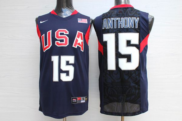 Men USA 15 Anthony Dark Blue Stitched Nike NBA Jersey