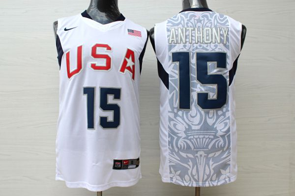 Men USA 15 Anthony White Stitched Nike NBA Jersey