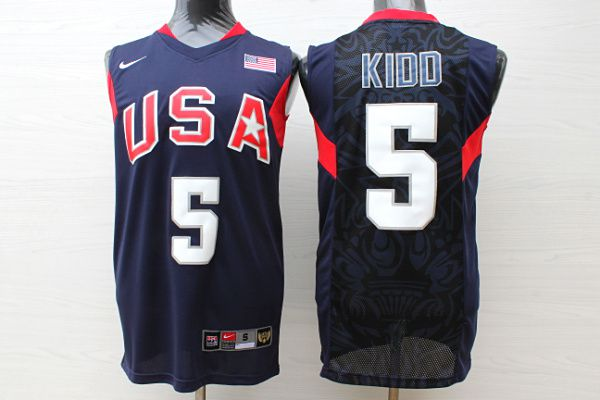 Men USA 5 Kidd Dark Blue Stitched Nike NBA Jersey