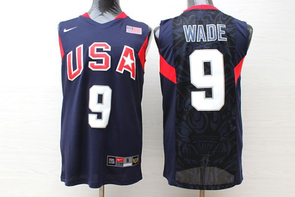 Men USA 9 Wade Dark Blue Stitched Nike NBA Jersey