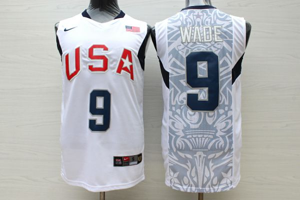 Men USA 9 Wade WhiteStitched Nike NBA Jersey
