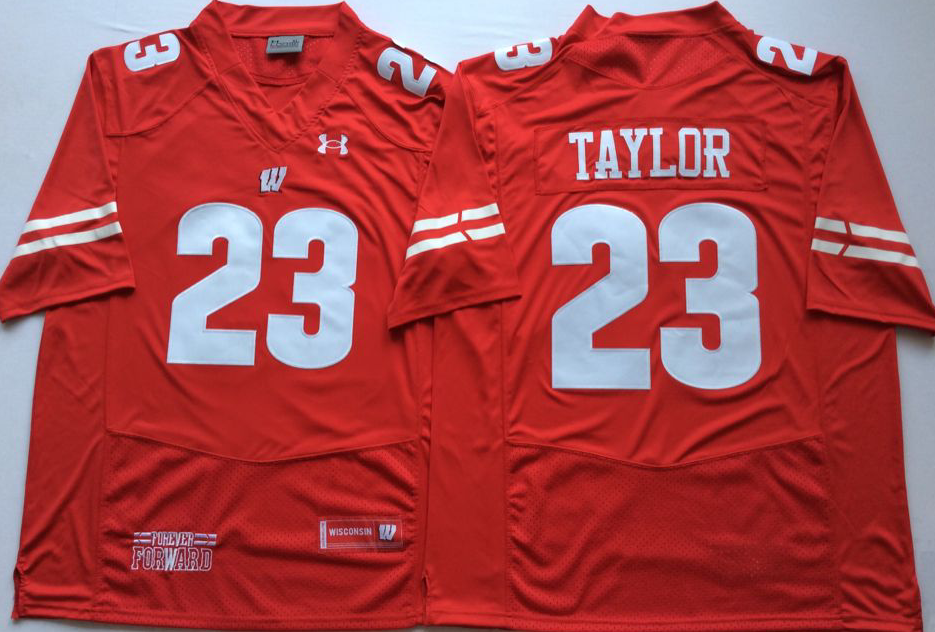 Men Wisconsin Badgers 23 Taylor Red NCAA Jerseys