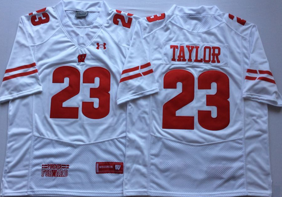 Men Wisconsin Badgers 23 Taylor White NCAA Jerseys