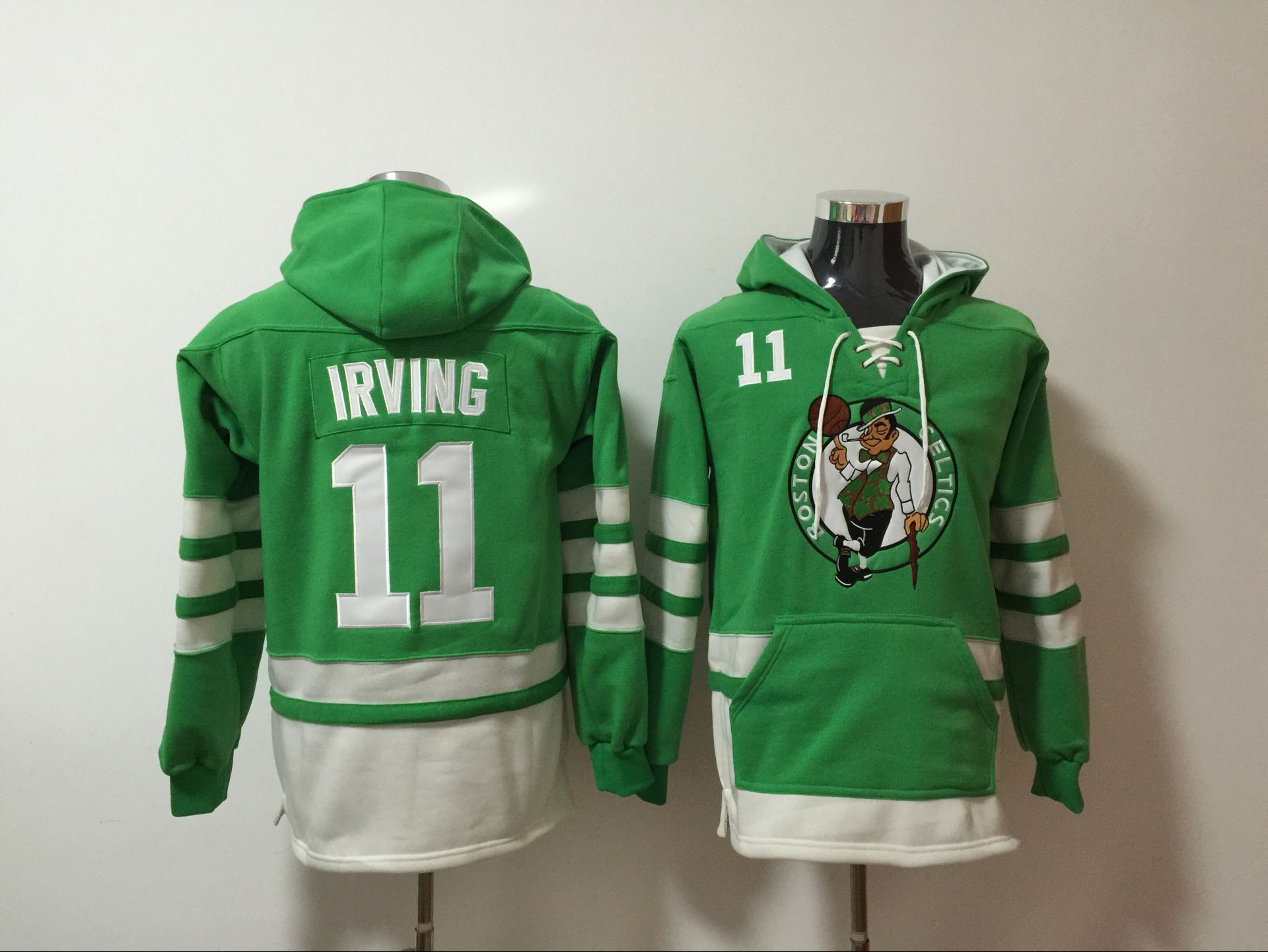 NBA Men Boston Celtics 11 Irving Green Sweatshirt