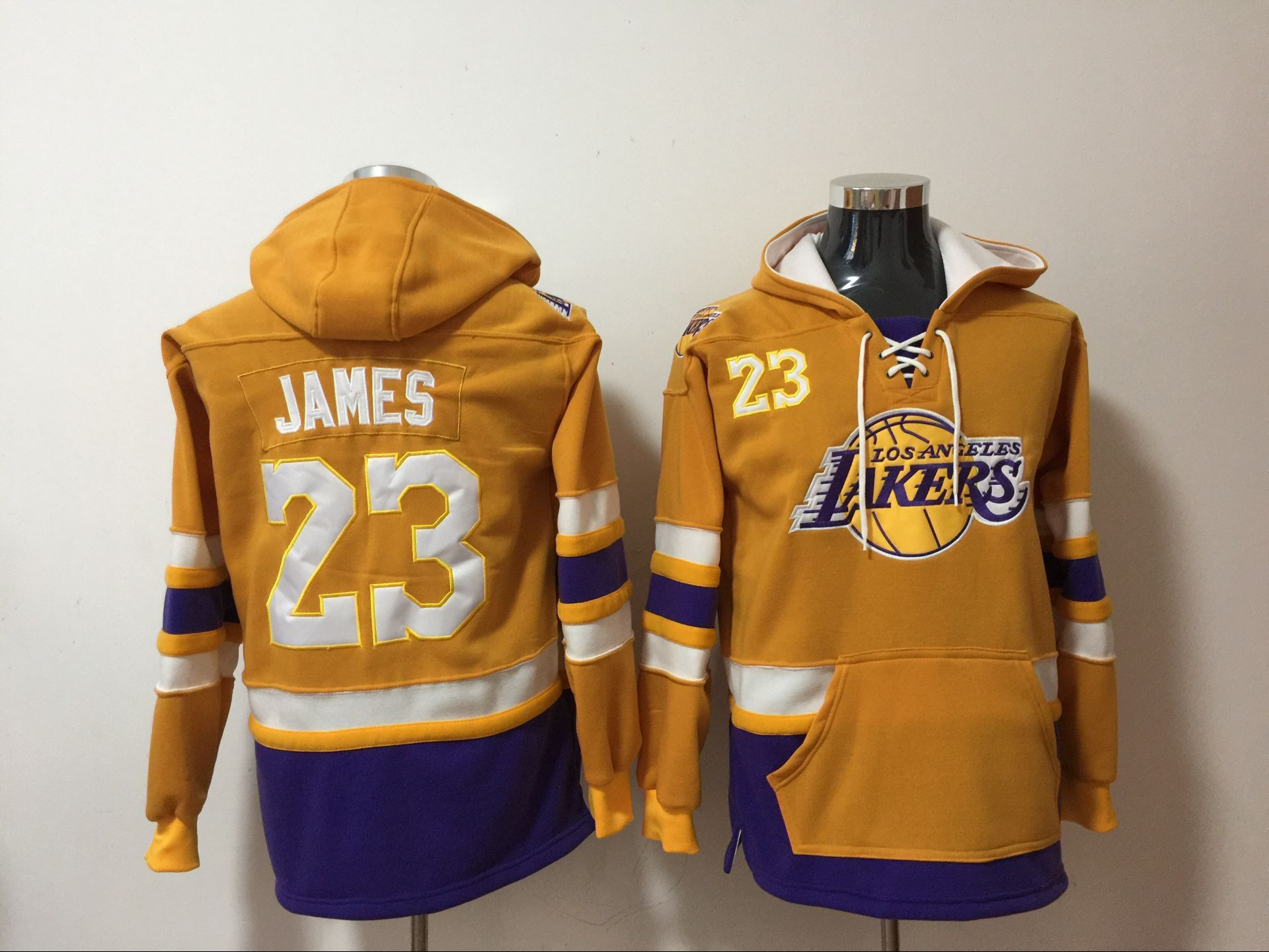 NBA Men Los Angeles Lakers 23 James yellow Sweatshirt