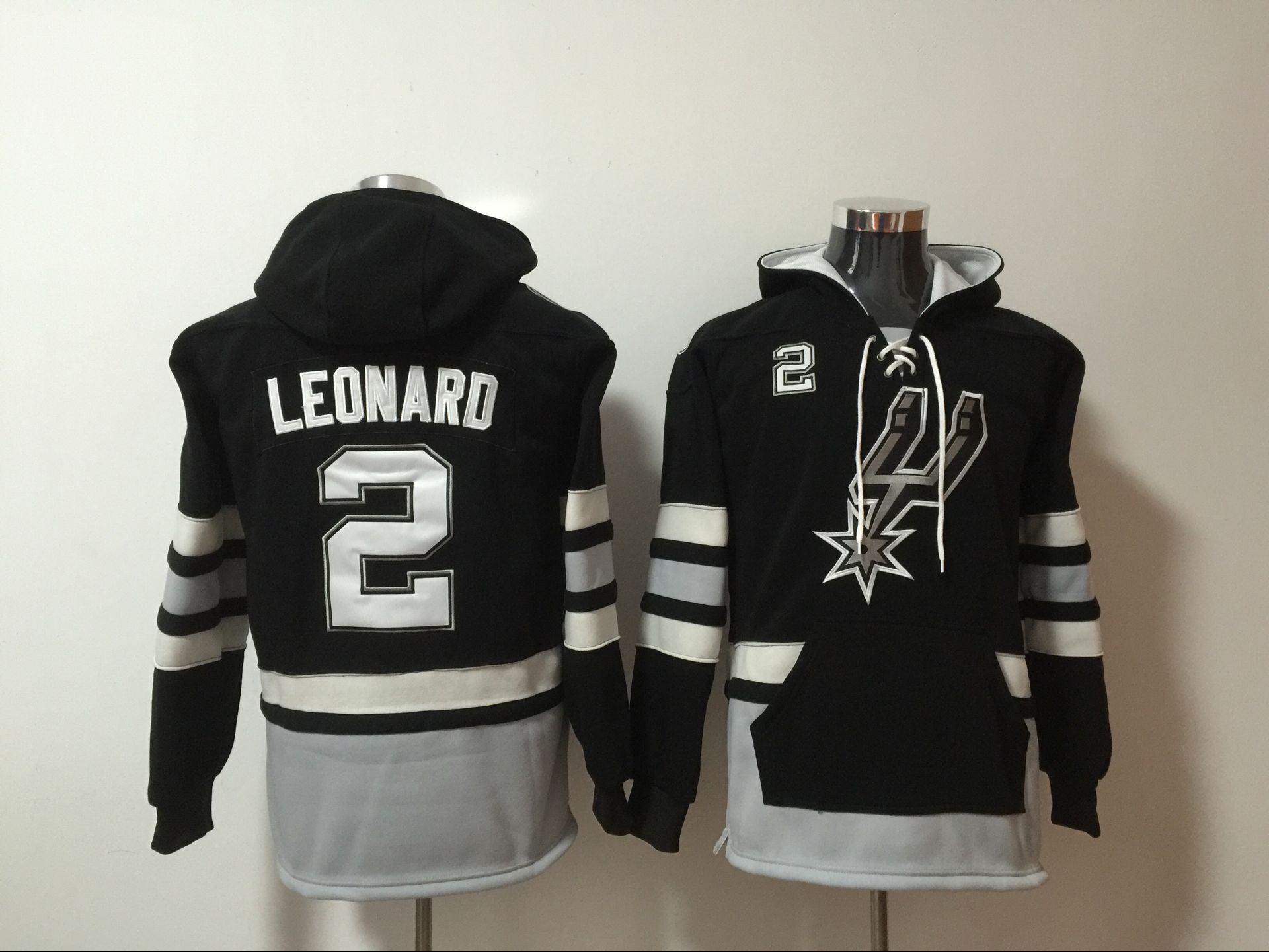 NBA Men San Antonio Spurs 2 Kawhi Leonard black Sweatshirt