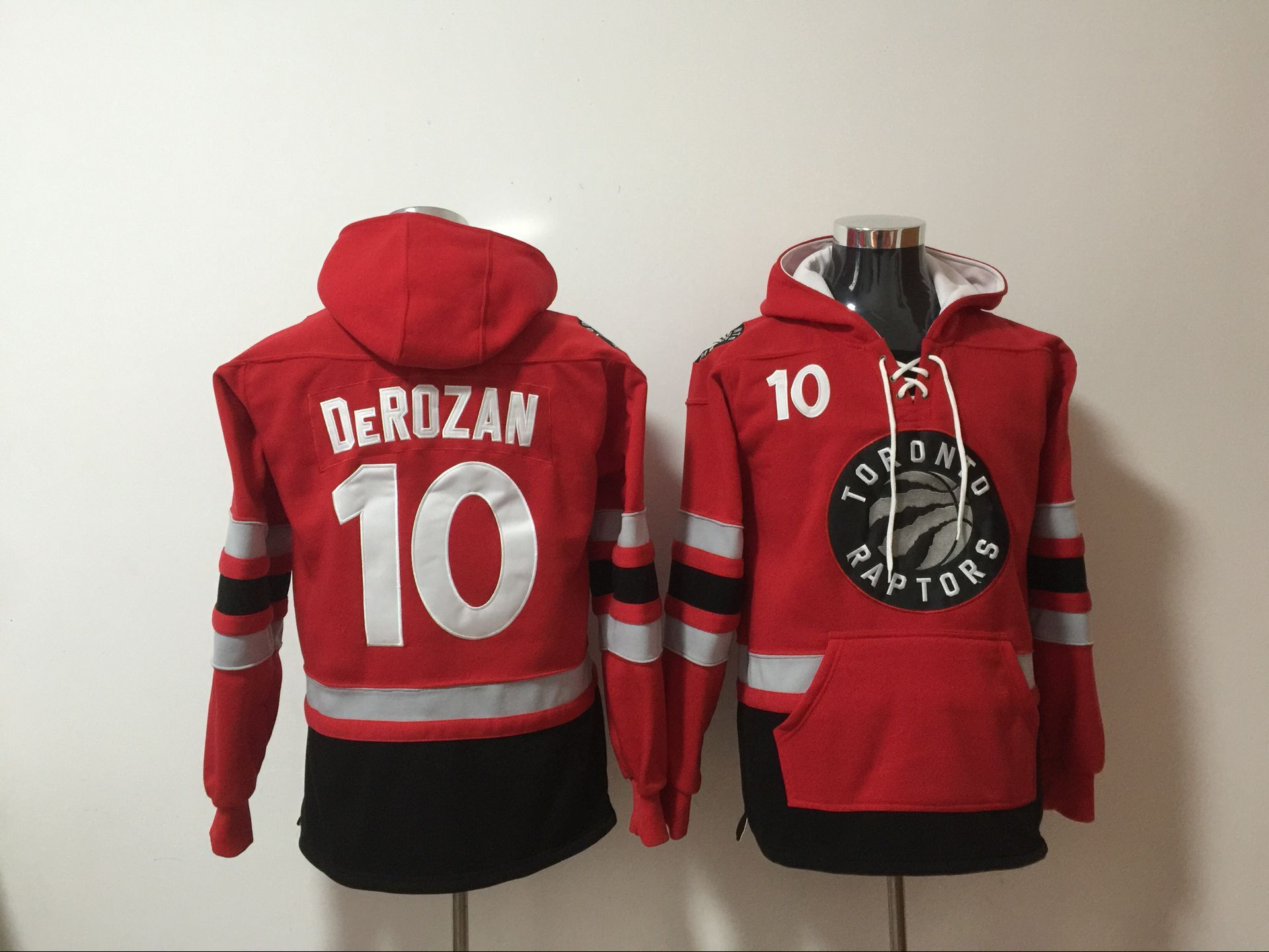 NBA Men Toronto Raptors 10 Derozan red Sweatshirt