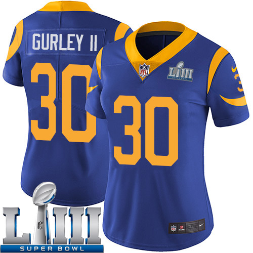 Women Los Angeles Rams 30 Gurley II blue Nike Vapor Untouchable Limited 2019 Super Bowl LIII NFL Jerseys