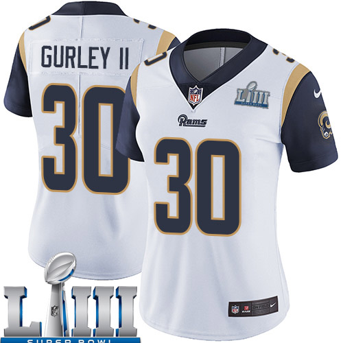Women Los Angeles Rams 30 Gurley II white Nike Vapor Untouchable Limited 2019 Super Bowl LIII NFL Jerseys