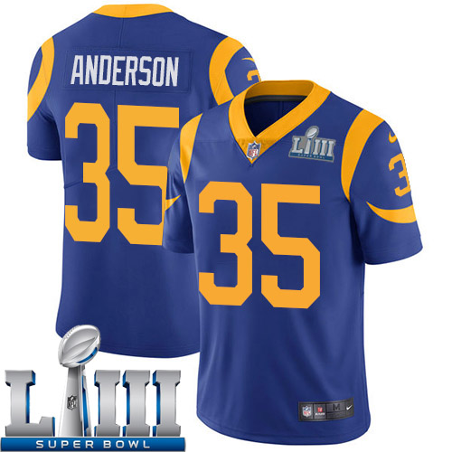 Women Los Angeles Rams 35 Anderson blue Nike Vapor Untouchable Limited 2019 Super Bowl LIII NFL Jerseys