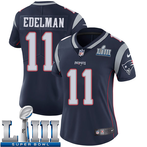 Women New England Patriots 11 Edelman blue Nike Vapor Untouchable Limited 2019 Super Bowl LIII NFL Jerseys