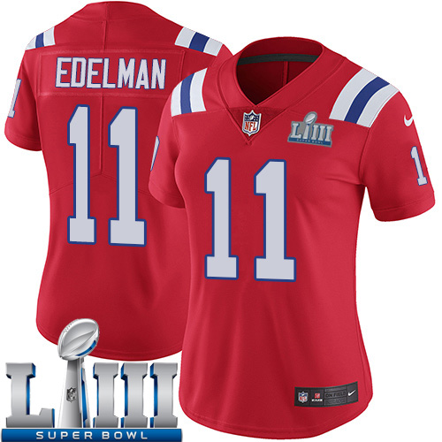 Women New England Patriots 11 Edelman red Nike Vapor Untouchable Limited 2019 Super Bowl LIII NFL Jerseys