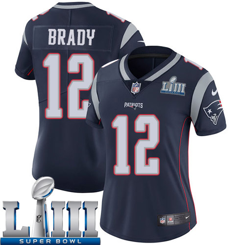 Women New England Patriots 12 Brady blue Nike Vapor Untouchable Limited 2019 Super Bowl LIII NFL Jerseys