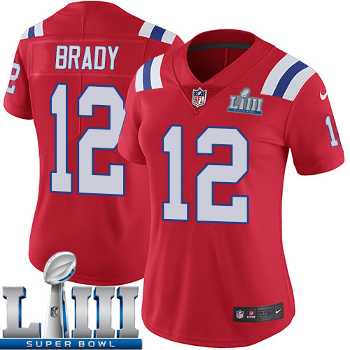 Women New England Patriots 12 Brady red Nike Vapor Untouchable Limited 2019 Super Bowl LIII NFL Jerseys