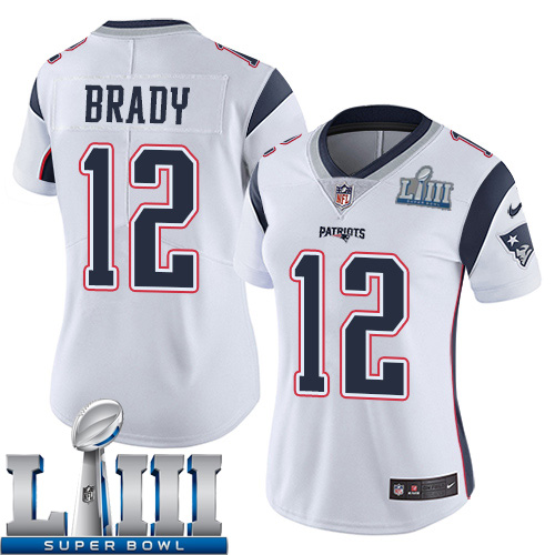 Women New England Patriots 12 Brady white Nike Vapor Untouchable Limited 2019 Super Bowl LIII NFL Jerseys