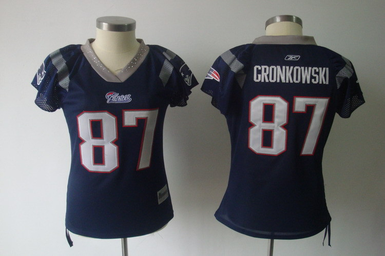 Women New England Patriots 87 Gronkowski blue Nike NFL Jerseys