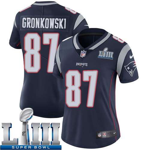 Women New England Patriots 87 Gronkowski blue Nike Vapor Untouchable Limited 2019 Super Bowl LIII NFL Jerseys